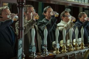 I would like to know if it really was beer they were drinking, because Pegg is the Master of Chug.