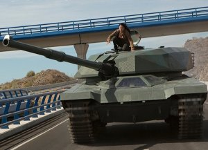 The bad guys have a tank. So cool. But it's about to be taken out by a Dodge Daytona and a Ford Escort. Yes, really.